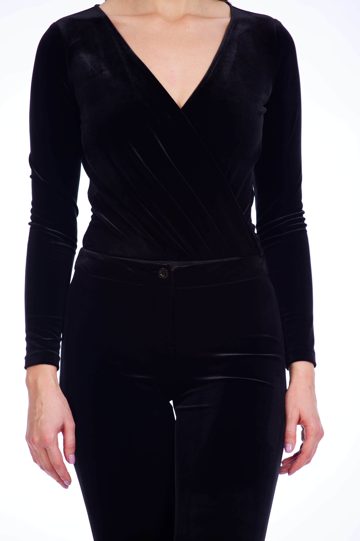 body-ul pentru femei catifea neagra