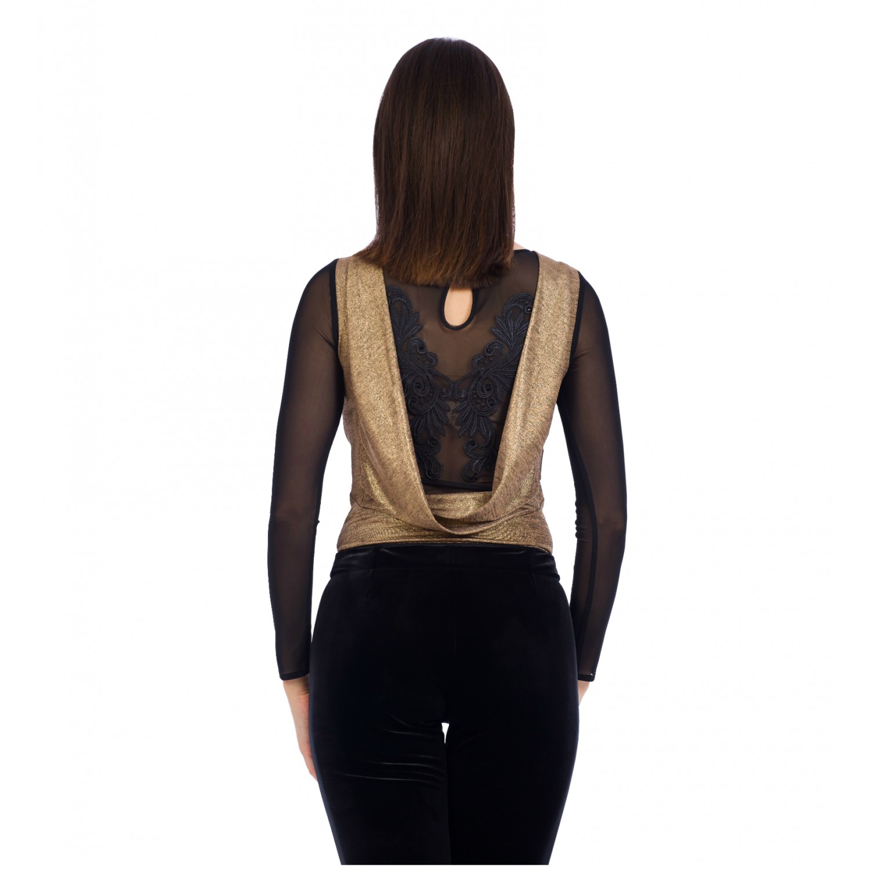 body-ul pentru femei auriu dantela neagra